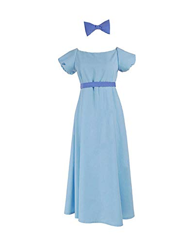 Expeke Women Light Blue Dress Costume Long Dresses Cosplay (Women S, Wendy Darling Dress) -