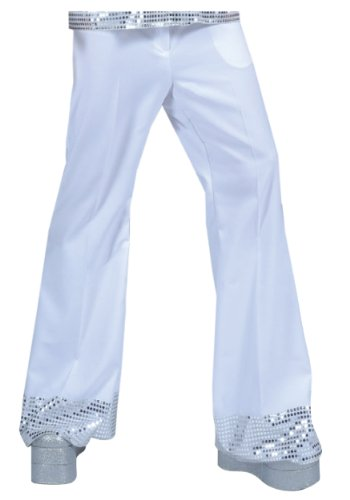 [Funny Fashions White Sequin Cuff Disco Pants Large] (Mens Disco Costumes Pants)