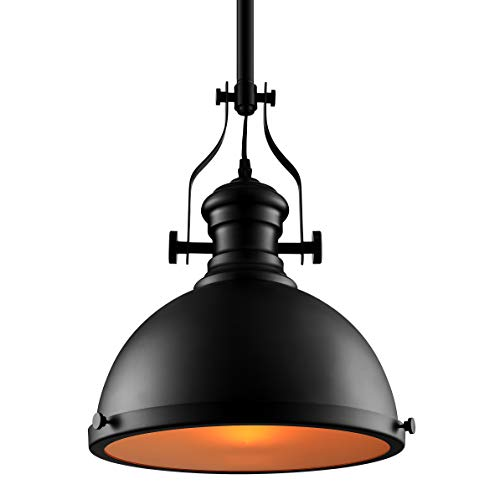 (BAYCHEER Industrial Retro Iron Light Bulb Country Painting Large Pendant Light Fixture Ceiling Lamp Chandelier with E26 Light Bulb Socket Black Finish)