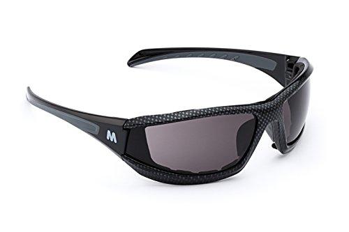 MORR MARRCONI Z75 Sport Sunglasses with Fog ARMORR Anti-Fog Lenses and Foam Padded Frame for Mountain Biking, Cycling, Motorcycle Riding (Gray Lens / Black Carbon Fiber - Glasses Mountain Bike