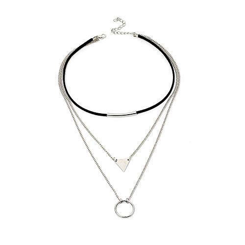 Jovono Multilayered Black Choker Necklaces Triangle Circle Pendant Necklace Chain Jewelry for Women and Girls ()