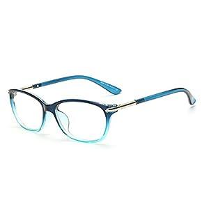 D.King Vintage Horn Rimmed Cat Eye Eyeglasses Frame Glasses Clear Lens Blue