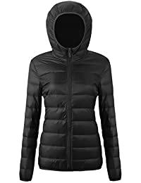 Women's Hooded Packable Ultra Light Weight Packable Down Puffer Jacket with Travel Bag