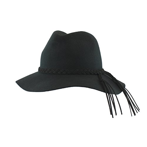 Black Wool Floppy Brimmed Panama Style Fedora Hat w/ Braided Fringe Band - Winter