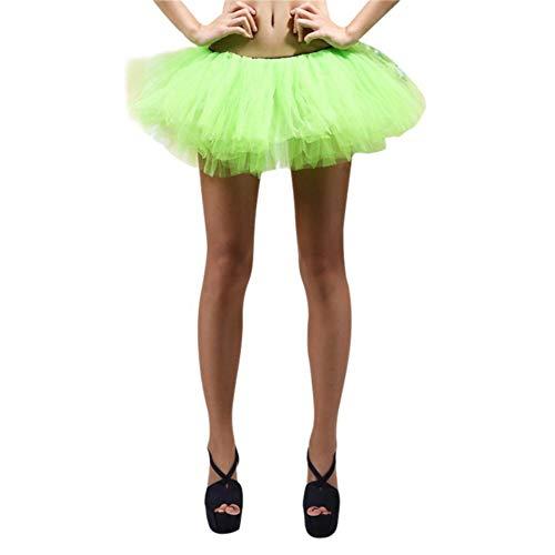 Kudden Women's Classic 5 Layered Tutu Skirt Tulle Petticoat Ballet Dancing Bubble Skirts Short Prom Dress up Green