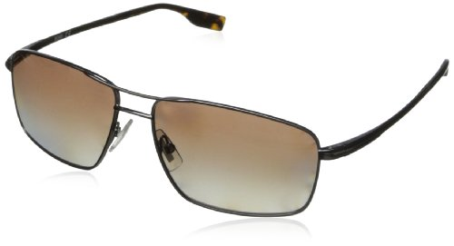 BOSS by Hugo Boss Men's B0580ps Rectangular, Dark Ruthenium & Brown Gradient Polarized, 59 mm
