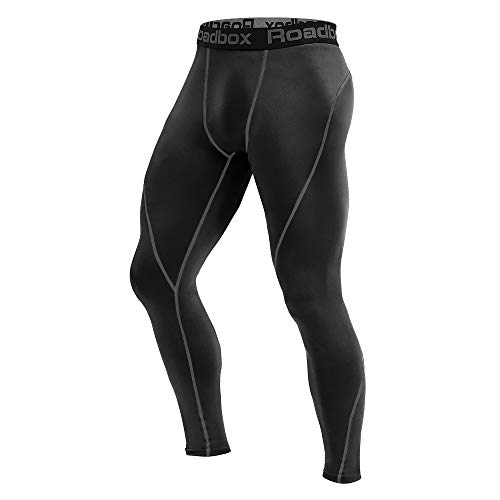 Roadbox Men's Compression Pants - Tights Base Layer Cool Dry Leggings for Sports, Workout, Gym, Fitness, Running, Cycling, Yoga, Hiking, Basketball (Black, S)