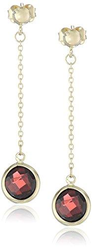 (14k Yellow Gold Briolette Cut Garnet Dangle Earrings)