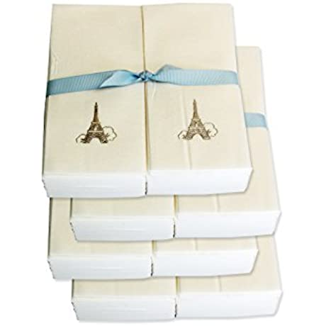 Disposable Guest Hand Towels With Ribbon Embossed With A Silver Eiffel Tower 1000ct