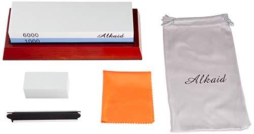 Knife Sharpening Stone Set,Whetstone Knife Sharpener kit 1000/6000 Grit, Premium Wet Stone Non-Slip Base Angle Guide, Flattening Stone and waterstone Bag