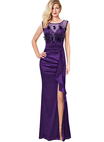 (VFSHOW Womens Ruched Ruffles Embroidered Formal Evening Wedding Maxi Dress 290 PUP L)