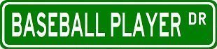"baseball player street sign ~ custom sticker decal wall window door art vinyl street signs - 8.25"" x 2.0"""