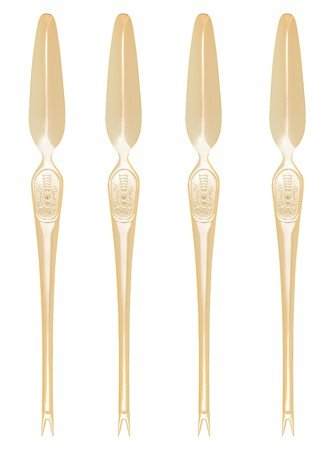 HIC Lobster Crab Seafood Pick Fork and Scoop, Japanese Stainless Steel, 8-Inches, Gold