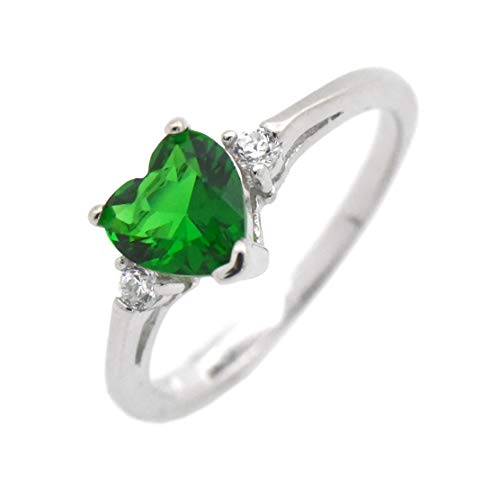 (Cute Heart Simulated Birthstone Cubic Zirconia Sterling Silver Birthday Gift Ring Size 6 - Emerald)