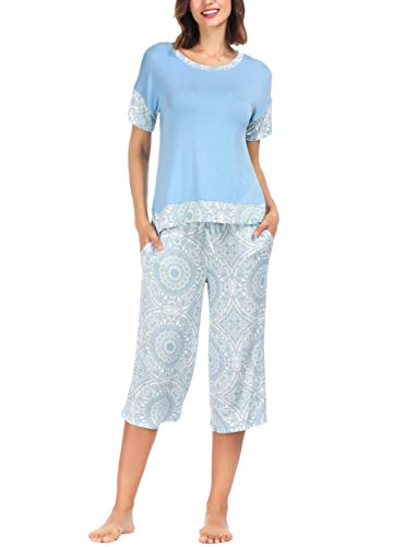 Ink+Ivy Women Pajama Set Oversized Tee and Capri Lounge Pants Sky Blue White Bandhani - Fiori 2 Light