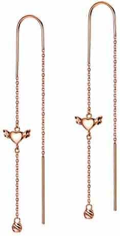 97e0ba84af SISGEM 18k Gold Heart Earrings, Gold Love Earring, Real Gold Dangle  Earrings for Women