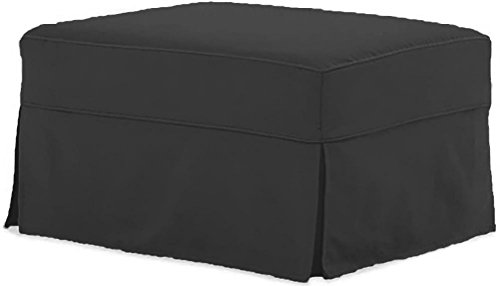 The Cotton Ottoman Slipcover Replacement. It Fits Pottery Barn PB Comfort Ottoman. Dense Cotton Sofa Footstool Cover (Comfort Dark Gray) (Couch Pottery Barn Covers)