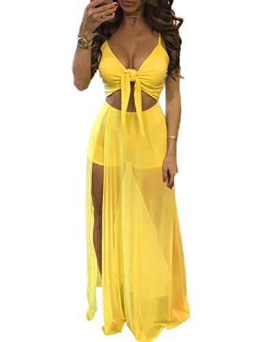 Women's Sleeveless Mesh Slit Crop Top Skirt Set 2 Pieces Outfits Party Maxi Dresses Clubwear Yellow M ()