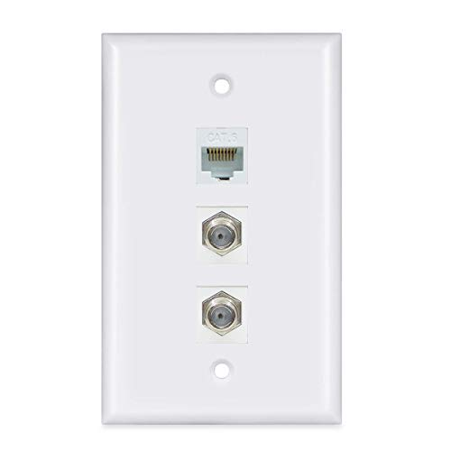 2 Coax 1 Ethernet Wall Plate - ESYLink 2 Port Coax Cable TV F-Type and 1 Port Ethernet Cat6 Wall Plate - White