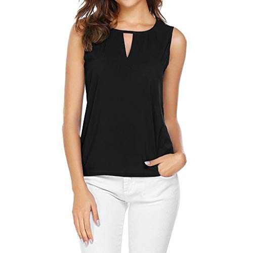 MALLOOM Women Sexy Sleeveless Solid O-Neck Keyhole Tank Top Casual Chiffon Shirt Black - Trim Cradle Bedding