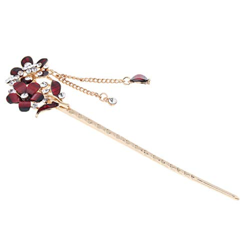 Womens Flower Hair Pin Stick with Tassel Crystal Rhinetone Beads Headdress (Color - Red) ()