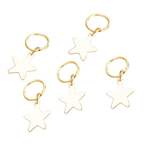NEEKEY Hair Jewelry Rings Decorations Pendants,5pcs Women Cross Shell Star Ring Hair Clips Accessory - Jeweled Floral Mini Pendant