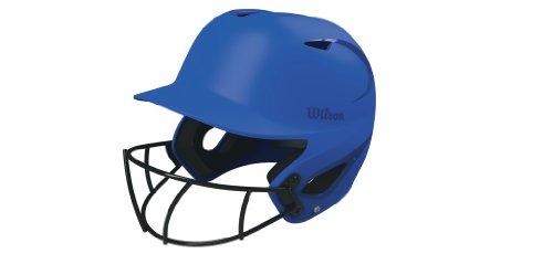 Wilson SuperFit Batting Helmet with HD Vision Softball Mask, Royal Blue