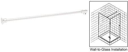 CRL White Frameless Shower Door Fixed Panel Wall-To-Glass Support Bar for 1/4