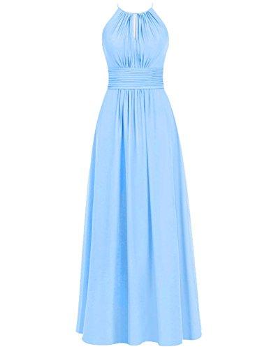 Cdress Des Femmes De Longues Robes De Demoiselle D'honneur En Mousseline De Soie Licol Bal Mariage Sans Manches Sky_blue Partie