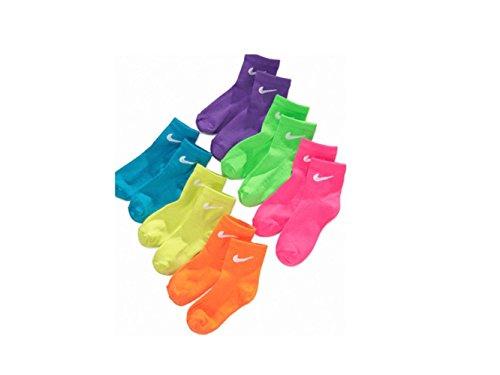 NIKE Girls 6-Pack Quarter Socks US Shoe Size 13C- 3Y (Nike Light Up Shoes)