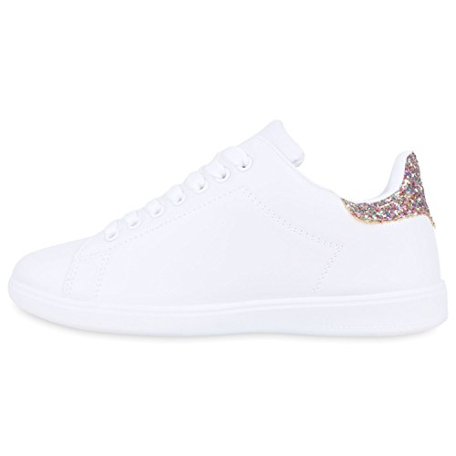 Stiefelparadies Damen Sneaker Low Basic Flandell Weiss Mehrfarbig