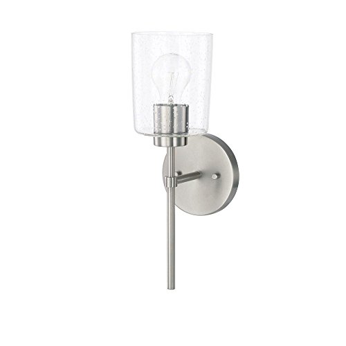 Capital Lighting 628511BN-449 Homeplace Greyson – One Light Wall Sconce, Brushed Nickel Finish with Clear Seeded Glass