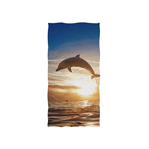 - Cooper girl Sea Dolphin Hand Towel Cotton Bathroom Towel for Hand Face Gym Spa