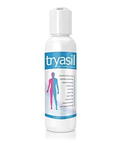 TRYASIL 8oz Glucosamine, MSM & Arnica Liposome Cream. Formulated for Joints, Back, Muscle, Tissue, Pain Relief. All Natural Lotion