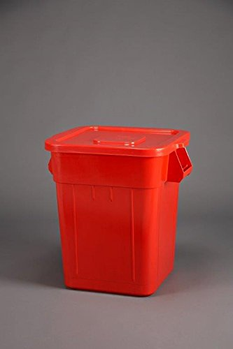 32 Gallon Huskee Lid - Continental 2801RD 32-Gallon Huskee LLDPE Waste Lid, Square, Red