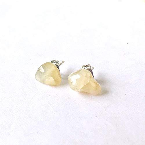 Moonstone White Earrings - Men's Raw Moonstone Crystal Earrings - White Gold Studs - June Birthstone Jewelry Gift