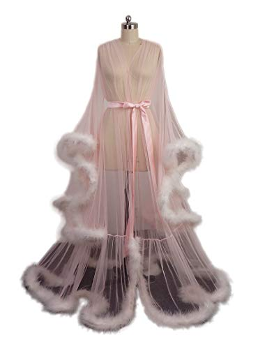 Sexy Feather Bridal Robe Tulle Illusion Long Wedding Scarf New Custom Made ... (BlushPink+Ivory)