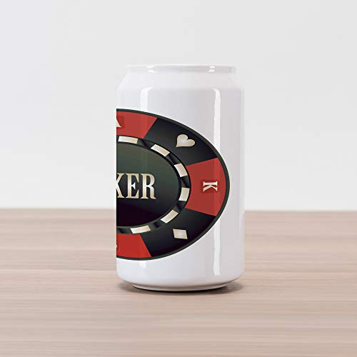Lunarable Poker Tournament Cola Can Shape Piggy Bank, Casino Chip with Poker Word in Center Rich Icon Card Suits Print, Ceramic Cola Shaped Coin Box Money Bank for Cash Saving, Vermilion Army Green ()