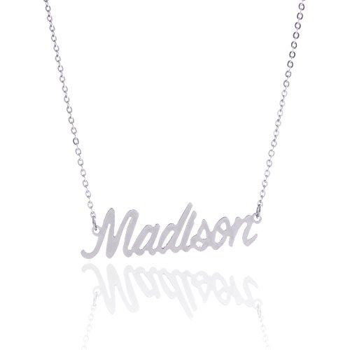 (AOLO Stainless Steel Personal Silver Name Necklace Christmas Gift Madison)