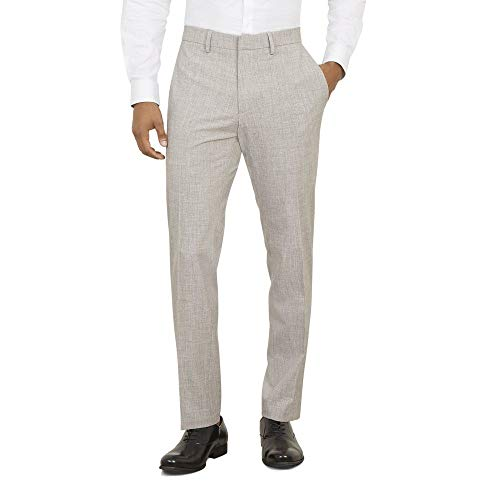 Kenneth Cole REACTION Men's Stretch Faux Flannel Slim Fit Flat Front Dress Pant, Heather Grey, 36Wx30L