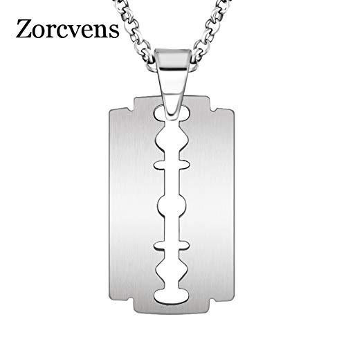 Metal Color: as Picture, Length: 55cm Davitu Blade Necklace Men Jewelry Trendy Silver-Color Razor Pendant Necklace Gift for Men