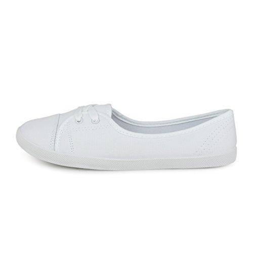 best-boots Damen Ballerinas Sneaker Schnürer Slipper Halbschuhe sportlich Textil White (fällt größer aus)