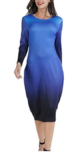 Sodossny-au Ras Du Cou Pour Femmes Mode Longue Robe Crayon Midi Couleur Gradient De Manchon 1