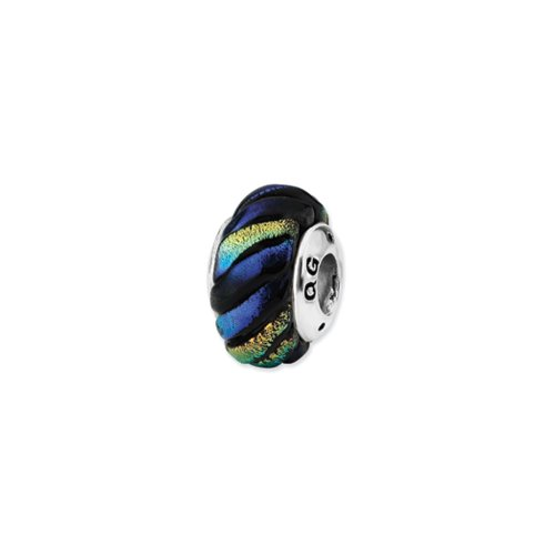 Dichroic Glass & Sterling Silver Rainbow Swirl Bead Charm, 15mm Striped Dichroic Glass