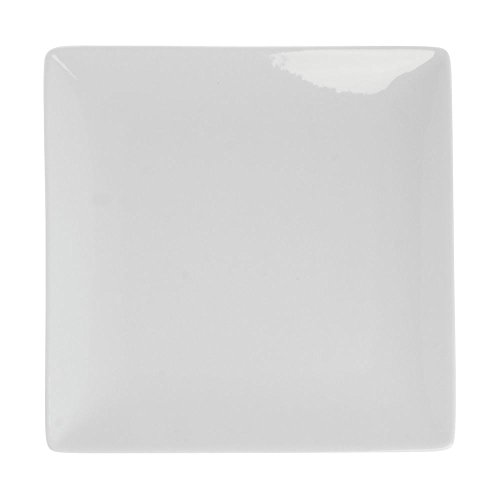 (World Slate Square Coupe Bright White Porcelain Plate -9 1/2