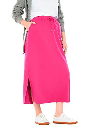 Woman Within Women's Plus Size Sport Knit Side-Slit Skirt - Raspberry Sorbet, 12