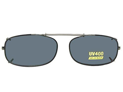 Skinny Curve Rectangle NON Polarized Clip On Sunglasses (Black-NON Polarized Gray Lens, 54mm Width x 31mm - Sunglasses On Non Polarized Clip