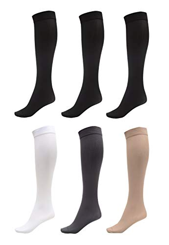 6 Pack of Women Trouser Socks with Comfort Band Stretchy Spandex Opaque Knee High, 3 Black, 1 Dark Grey, 1 White, 1 Beige ()