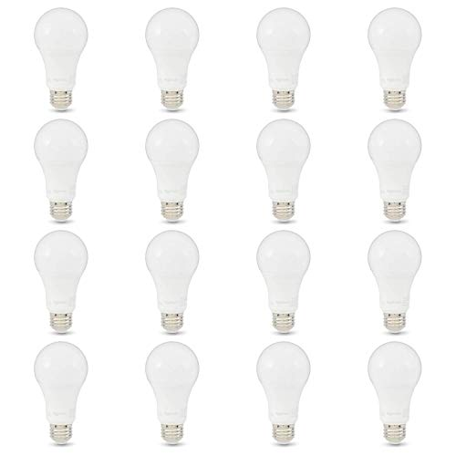 AmazonBasics 100W Equivalent, Daylight, Non-Dimmable, 10,000 Hour Lifetime, A19 LED Light Bulb | 16-Pack