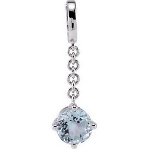 IceCarats Designer Jewelry Sterling Silver Genuine Aquamarine Pendant Enhancer 08.00 Mm